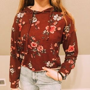 Rue 21 cropped purple flower hoodie